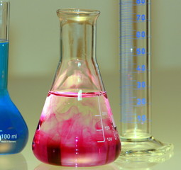 conical flask with red liquid in chemical laboratory