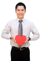 Asian guy with love gift box