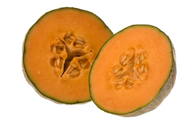 Sliced Japanese Melons Isolated
