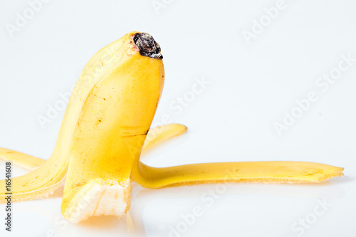 Peel of banana close up.