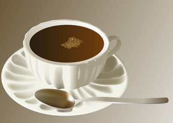 Detailed vector coffee cup with steel spoon.