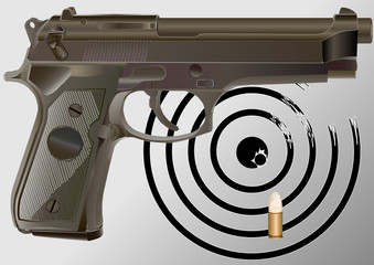 detailed vector handgun, target and bullet caliber 9mm