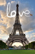 Leinwanddruck Bild - Love in Paris Eiffel Tower France Concept - Me and You