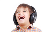 Little nice boy listening to music poster