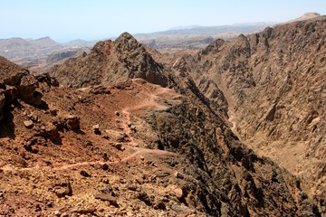 Hiking trail at the gorge in rocky desert near Eilat in Israel