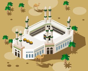 Mecca Hajj illustration vector