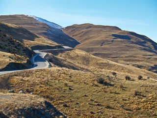 Winding road, though New Zealand hill country