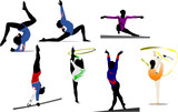Woman gymnastic colored silhouettes. Vector illustration