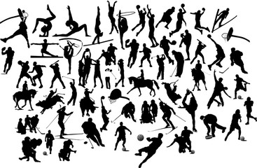 Collection of black and white sport silhouettes. Vector