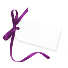 Blank Tag with Purple Ribbon