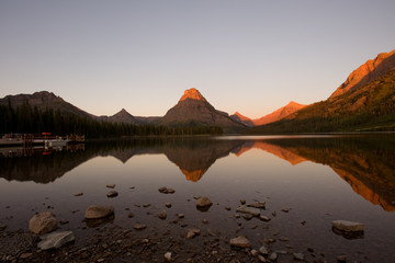 Sunrise in Two Medicine lake, Glacier national park