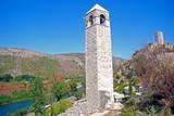 Clock tower, Pocitelj, Bosnia-Herzegovina poster