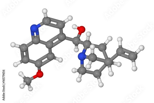 Ball and stick model of quinine molecule