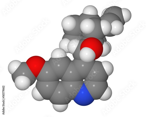Space-filling model of quinine molecule