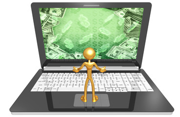 Gold Guy With Money Screen Netbook
