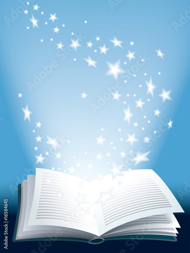 Magic book, vector illustration