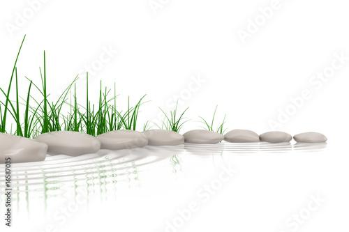 Fototapeta Stones & grass at waters edge