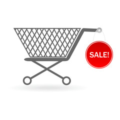 shopping cart with sale label isolated on white