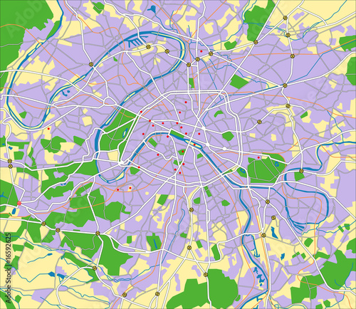 layered vector map of paris.