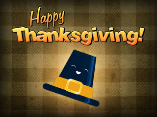 Happy thanksgiving, pilgrim hat smiling