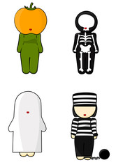 Illustration of halloween costume Girls on white background