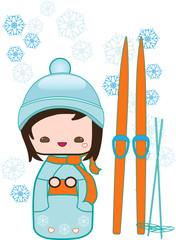 Japanese kokeshi winter doll