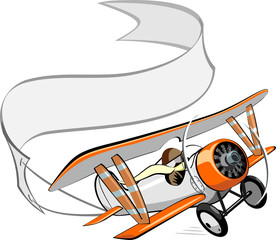 Vector cartoon biplane with blank banner