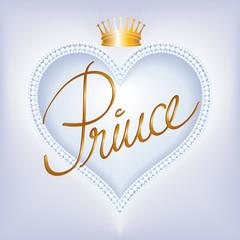 Prince-Herzrahmen mit Perlen und Krone