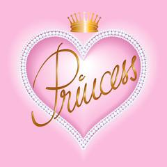 Princess-Herzrahmen mit Perlen und Krone