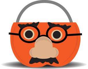 Pumpkin Candy Holder Wearing Disguise