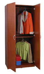 Open closet. Clipping path