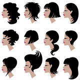 set of black hair styling for woman poster