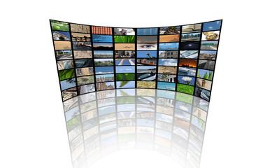 Ecrans multiples (télévision - régie studio - vidéosurveillance)