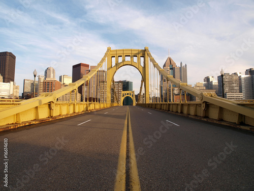 Poster Bruggen Empty Pittsburgh Bridge