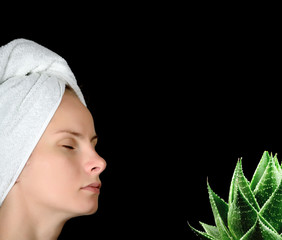 ALOE AND YOUNG WOMAN PORTRAIT