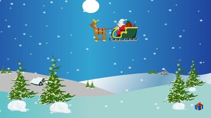 Santa Claus in a sleigh flying over the snow
