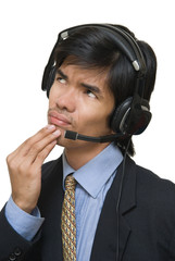 Pensive call center agent