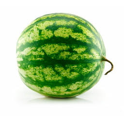 Ripe Green Watermelon Isolated on White