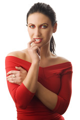 woman in red top
