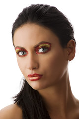 red and golden make up
