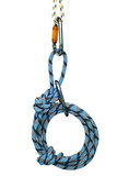 climbing equipment - carabiners and blue rope