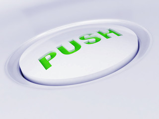 white plastic button with a green caution sign