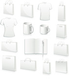 white collection of shopping bags, football jersey, cup, book