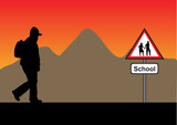 silhouette with backpack with a mountain and a school sign
