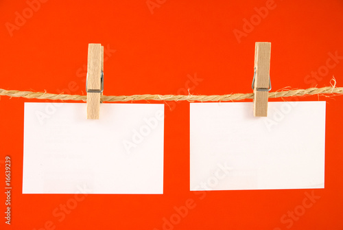 Cards on clothesline
