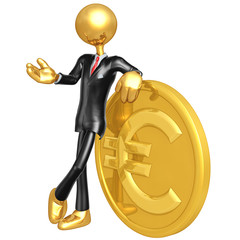 Gold Guy Businessman With Euro Coin