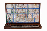 Vintage analog modular synthesizer with patchcords poster