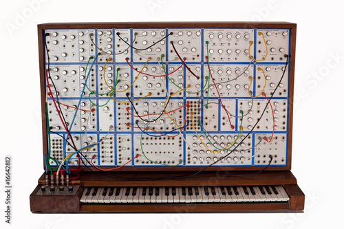Vintage analog modular synthesizer with patchcords - 16642812