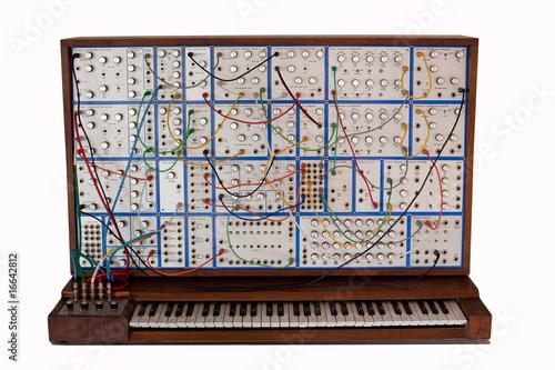 Leinwanddruck Bild Vintage analog modular synthesizer with patchcords