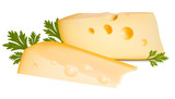 Vector illustration. Cheese with parsley.